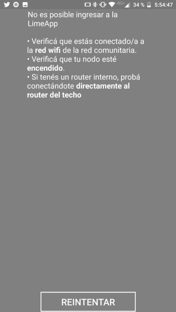 Error screen of the LimeApp
