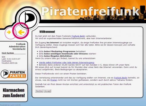Piratenfreifunk Splash-Bildschirm
